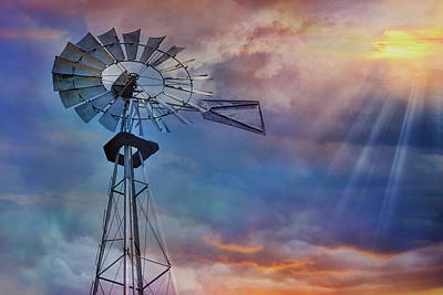 Poster featuring the photograph Windmill At Sunset by Susan Candelario