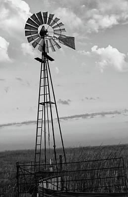 Windmill In Monochrome Poster by Tony Grider