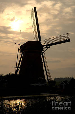 Windmill In Silhouette Poster by Andy Smy