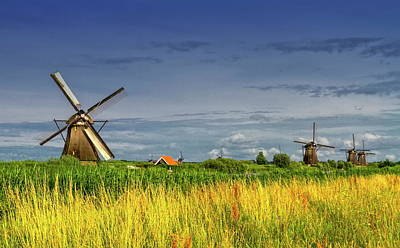 Windmills In Kinderdijk, Holland, Netherlands Poster
