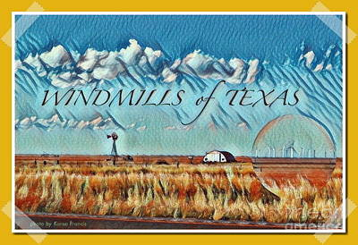 Windmills Of Texas Poster by Karen Francis