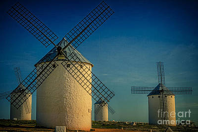 Windmills Under Blue Sky Poster