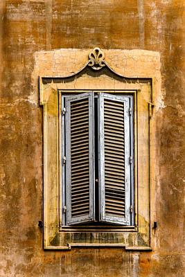 Window And Shutters Rome Italy Poster by Xavier Cardell