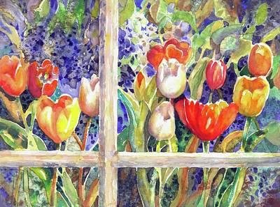 Window Box Tulips Poster