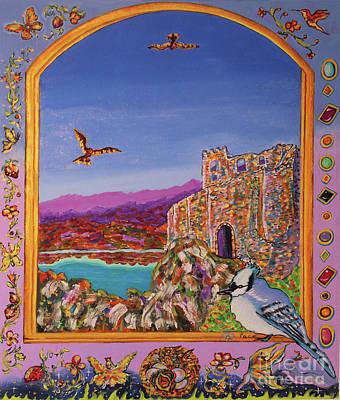 Window Castle Blue Bird Poster