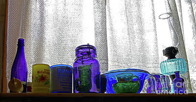 Window Colored Glassware Poster by Rich Walter