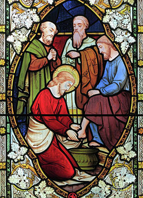 Window Depicting Jesus Washing The Feet Of His Disciples Poster