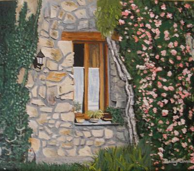 Poster featuring the painting Window Ledge  France by Betty-Anne McDonald