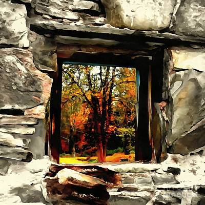 Window Of Hope - Stone Wall Window View Poster