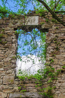 Poster featuring the photograph Window Ruin At Bridgetown Millhouse Bucks County Pa by Bill Cannon