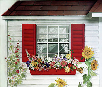Windowbox With Cat Poster