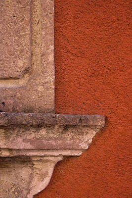 Windowsill And Orange Wall San Miguel De Allende Poster