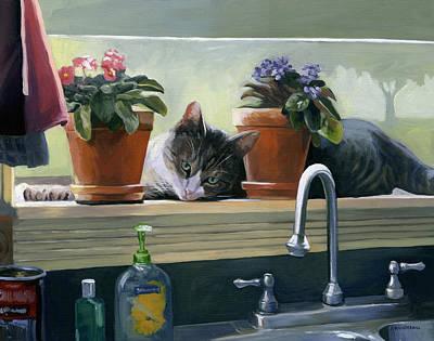 Windowsill Cat Poster