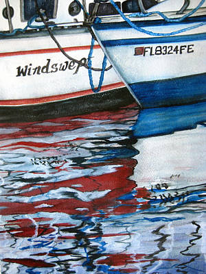 Poster featuring the painting Windswept Reflections Sold by Lil Taylor