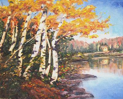 Poster featuring the painting Windy Birches by Diane Daigle