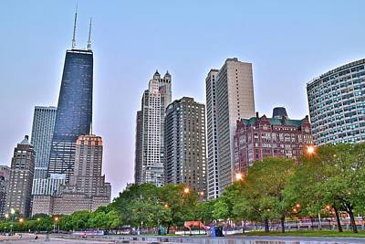Windy City Lakefront At Dusk Poster