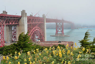 Windy Foggy Golden Gate Bridge  Poster