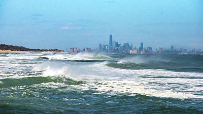 Windy View Of Nyc From Sandy Hook Nj Poster