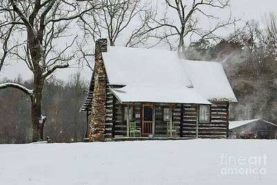 Windy Winter Day At The Cabin Poster by Benanne Stiens