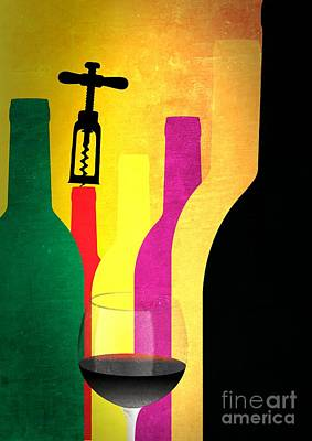 Wine And Bottles Poster by Stefano Senise