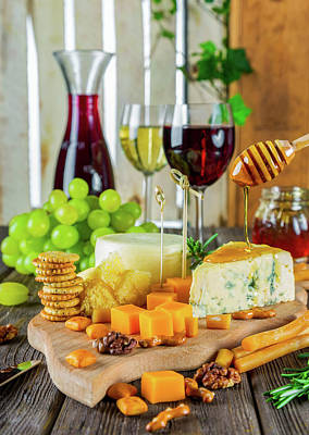 Wine And Cheese Poster by Daria-Yakovlev