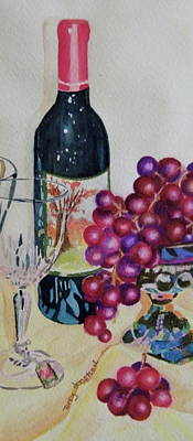 Wine And Grapes Poster by Terry Honstead