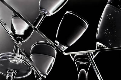 Wine Black Glasses With Drinks Poster by   larisa Fedotova