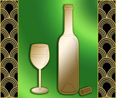 Poster featuring the digital art Wine Bottle And Glass - Chuck Staley by Chuck Staley