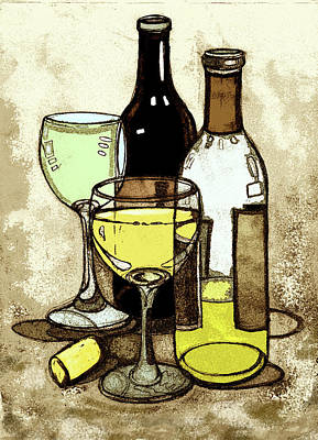 Wine Bottles And Glasses Poster by Peggy Wilson