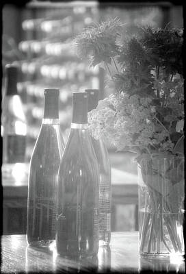 Wine Bottles Bw Vertical Poster by Thomas Woolworth