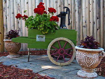 Wine Cart Pump Geranium Planter Poster