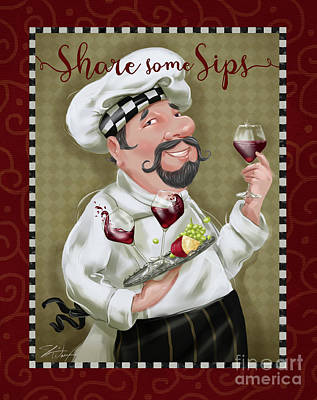 Wine Chef-share Some Sips Poster by Shari Warren