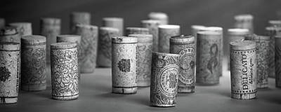 Wine Cork Panorama In Black And White Poster