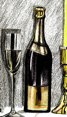 Wine For One Poster by Mary Bedy