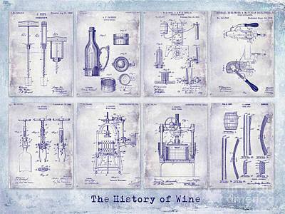 Wine History Patent Blueprint Poster by Jon Neidert