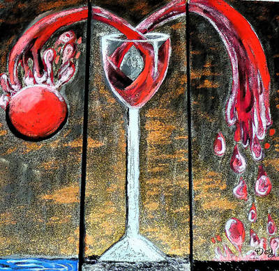 Poster featuring the painting Wine Out Pour by Janelle Dey