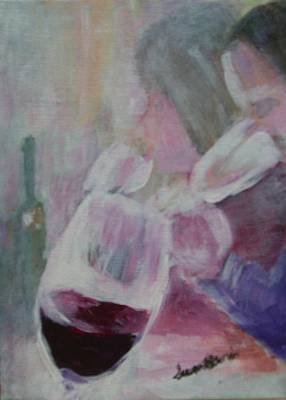 Wine Sipping Poster by Susan Harris