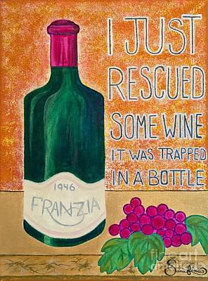 Wine Trapped In A Bottle Poster