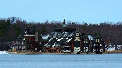 Snow On Boldt Castle Yacht House Poster