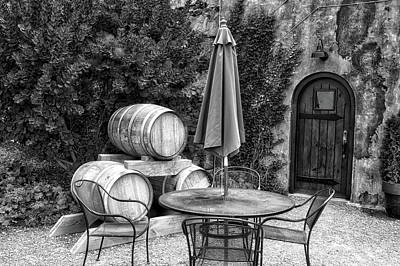 Winery Anyela's Vineyard Skaneateles New York Seating For Four Bw Poster by Thomas Woolworth