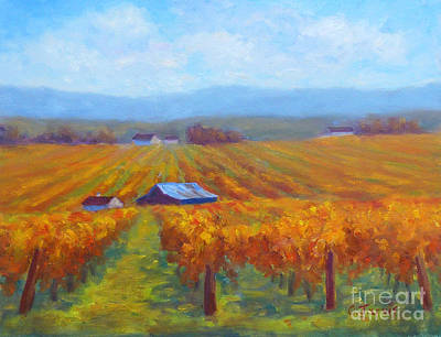 Winery Gold Poster by Carolyn Jarvis