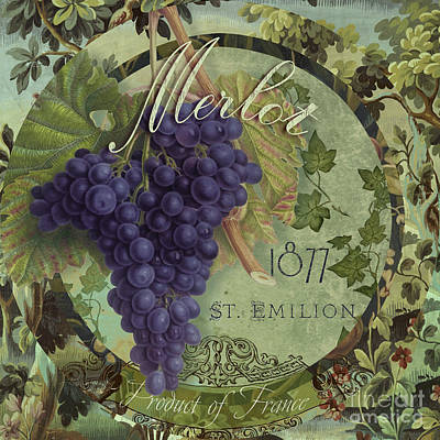 Wines Of France Merlot Poster by Mindy Sommers