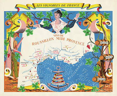 Wines Of Rossillon And Provance France Poster
