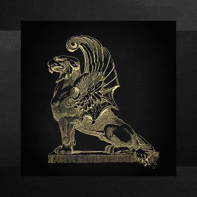 Poster featuring the digital art Winged Chimera From Theater De Bellecour, Lyon, France, In Gold On Black by Serge Averbukh