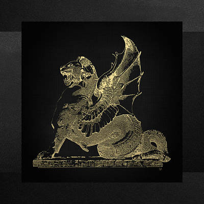 Poster featuring the digital art Winged Dragon Chimera From Fontaine Saint-michel, Paris In Gold On Black by Serge Averbukh