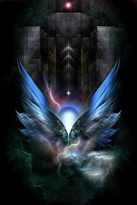 Wings Of Light Fractal Composition Poster by Xzendor7