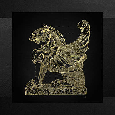 Poster featuring the digital art Winged Lion Chimera From Casa San Isidora, Santiago, Chile, In Gold On Black by Serge Averbukh