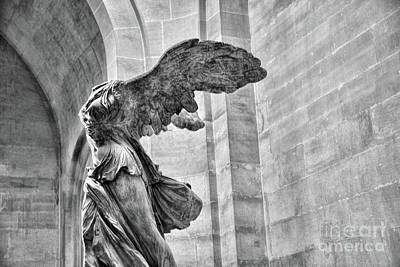 Winged Samothrace Bw Poster by Chuck Kuhn
