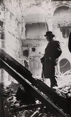 Winston Churchill Inspecting Bomb Poster