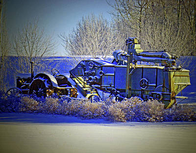 Winter Antique Tractor And Combine Poster by Al Bourassa